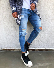 Load image into Gallery viewer, Blue Washed Front Ankle Zip Distressed Skinny Fit Denim B265 Streetwear Jeans