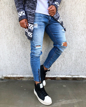 Blue Washed Front Ankle Zip Distressed Skinny Fit Denim B265 Streetwear Jeans - Sneakerjeans