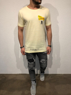 Yellow Oversized Printed T-Shirt B89 Streetwear T-Shirts - Sneakerjeans