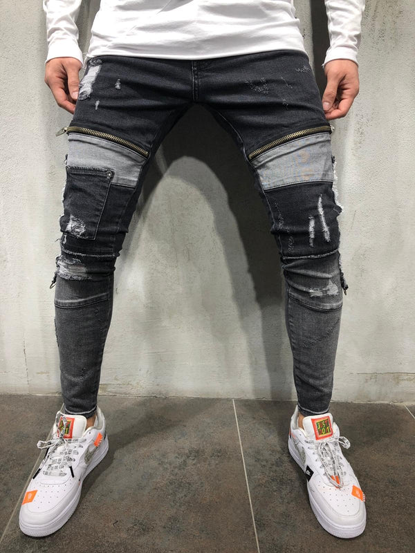 Black Distressed Side Ring Patched Skinny Fit Denim A231 Streetwear Jeans - Sneakerjeans