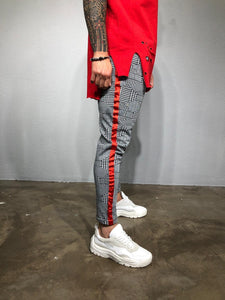 Gray Checkered Striped Jogger Pant BL209 Streetwear Jogger Pants - Sneakerjeans
