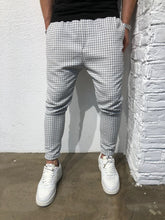 Load image into Gallery viewer, White Checkered Baggy Jogger Pant B162 Streetwear Jogger Pants - Sneakerjeans