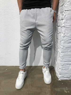 White Checkered Baggy Jogger Pant B162 Streetwear Jogger Pants - Sneakerjeans