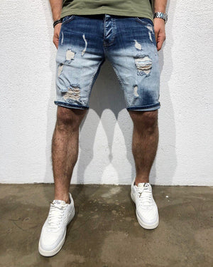 Green Red Side Striped Slim Fit Denim Short B166 Streetwear Denim Shorts - Sneakerjeans