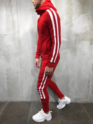 Red White Collar Striped Tracksuit Gymwear Set A202 Streetwear Tracksuit Jogger Set