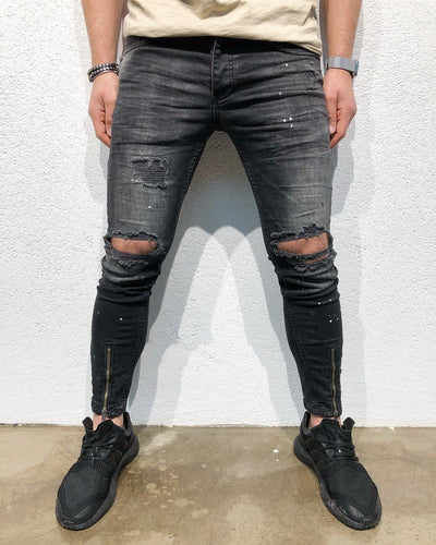 Black Destroyed Front Ankle Zipper Slim Fit Denim B110 Streetwear Denim Jeans
