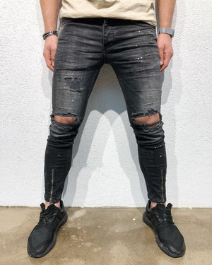 Black Destroyed Front Ankle Zipper Slim Fit Denim B110 Streetwear Denim Jeans - Sneakerjeans