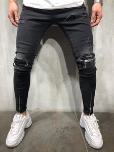 Black Ripped Patched Front Zippered Skinny Fit Denim A238 Streetwear Jeans