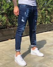 Load image into Gallery viewer, Indigo Blue Distressed Skinny Fit Denim B234 Streetwear Jeans
