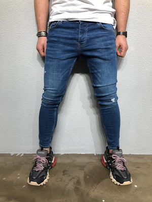 Blue Washed Distressed Denim BL238 Streetwear Jeans - Sneakerjeans