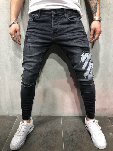 Black Printed Slim Fit Denim A65 Streetwear Denim Jeans