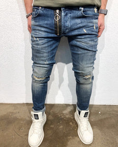Black Zipper Denim B54 Streetwear Denim Jeans - Sneakerjeans