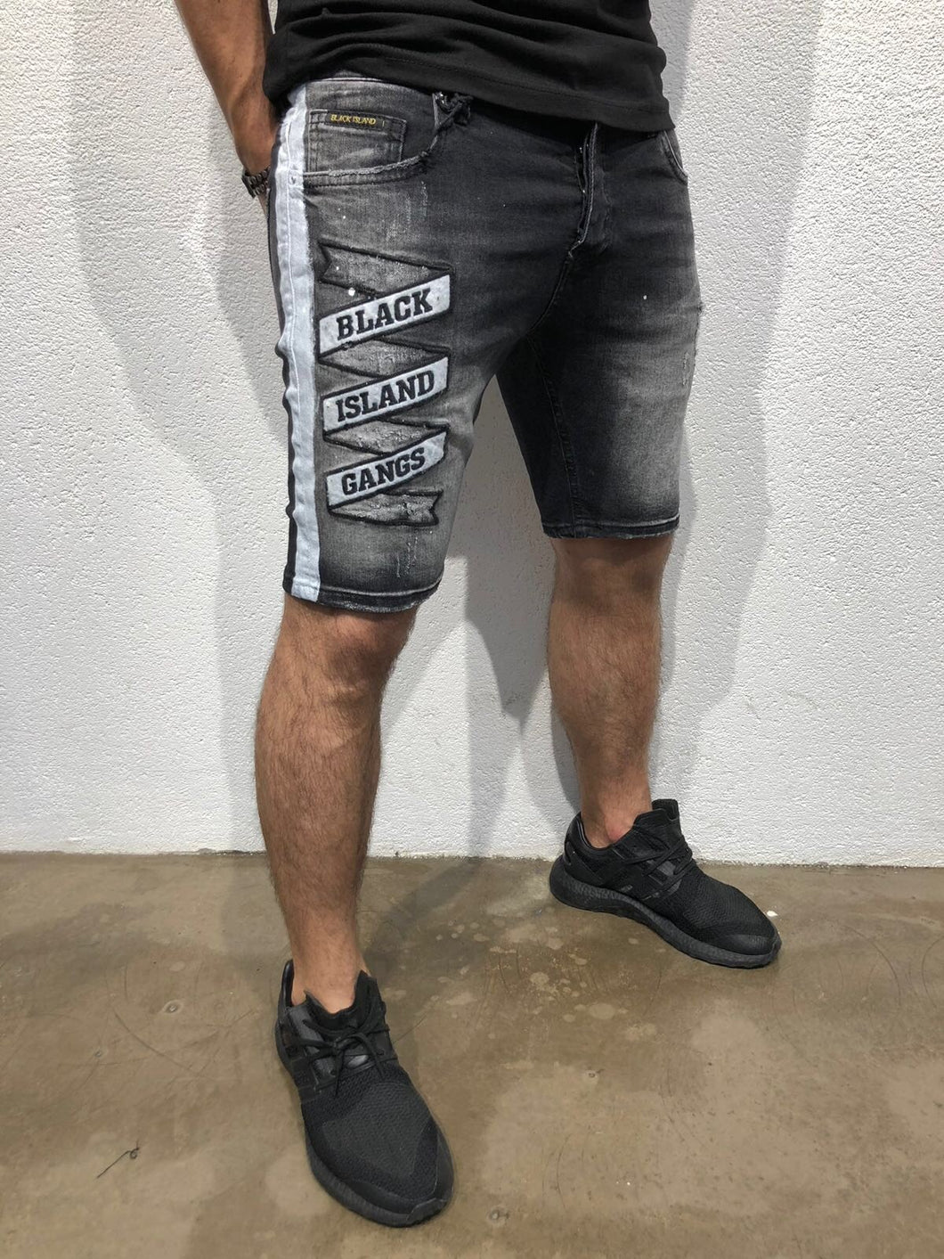 Black Patched Side Striped Slim Fit Denim Short B168 Streetwear Denim Shorts