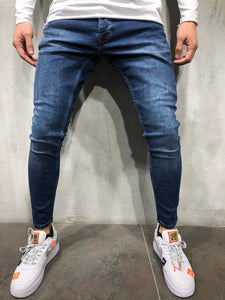 Blue Skinny Fit Denim A221 Streetwear Jeans