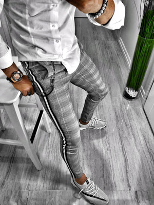 Gray Checkered Side Striped Black & White Casual Jogger Pant S103 Streetwear Jogger Pants - Sneakerjeans