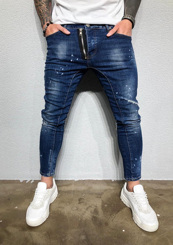 Blue Washed Front Zippered Distressed Denim BL251 Streetwear Jeans