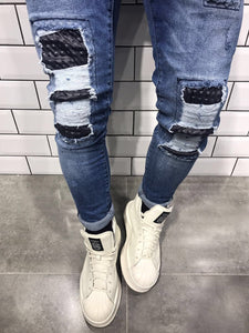 Rubber Patch Slim Fit Denim B8 Streetwear Denim Jeans
