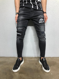Black Patched Denim BL264 Streetwear Jeans