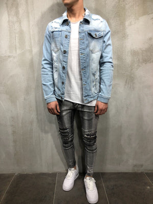 Distressed Denim Jacket A48 Streetwear Denim Jacket - Sneakerjeans
