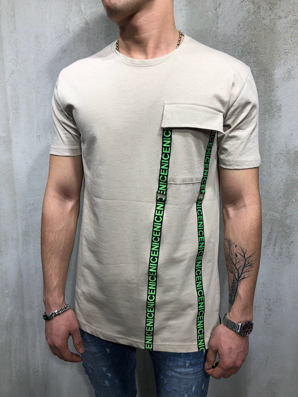 Beige Front Pocket Printed Oversize T-Shirt A49 Streetwear T-Shirts - Sneakerjeans