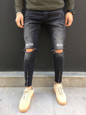 Black Printed Slim Fit Denim SJ263 Streetwear Denim Jeans - Sneakerjeans