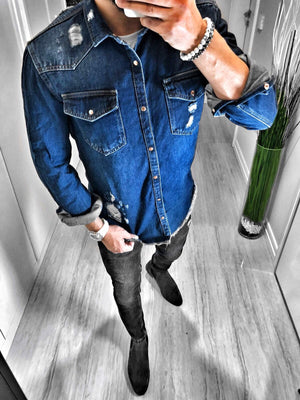 Navy Blue Ripped Denim Shirt S115 Streetwear Jeans Mens Shirt - Sneakerjeans