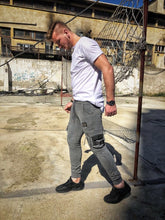 Load image into Gallery viewer, Gray Cargo Pocket Jogger Pant DM10 Streetwear Jogger Pants