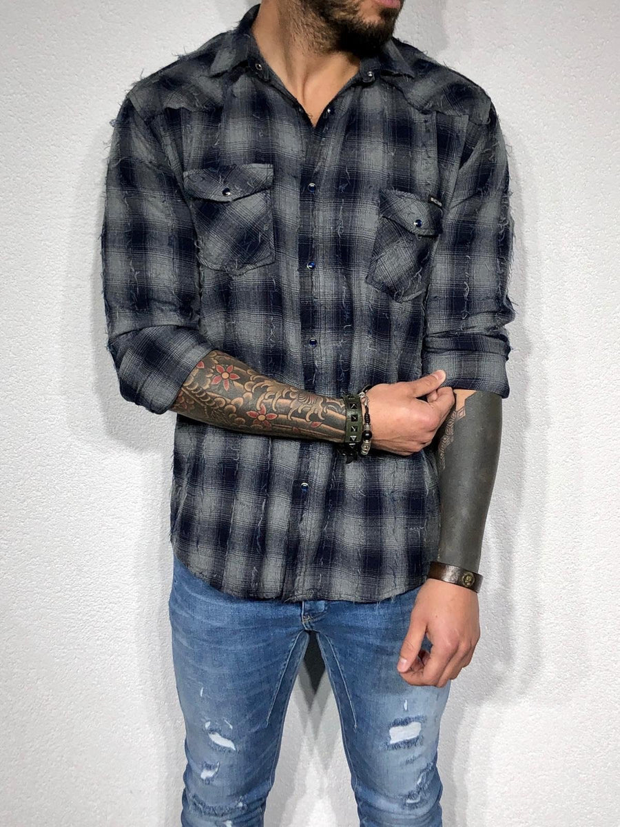 Black Checkered Printed Oversize Shirt BL161 Checkered  Shirt - Sneakerjeans