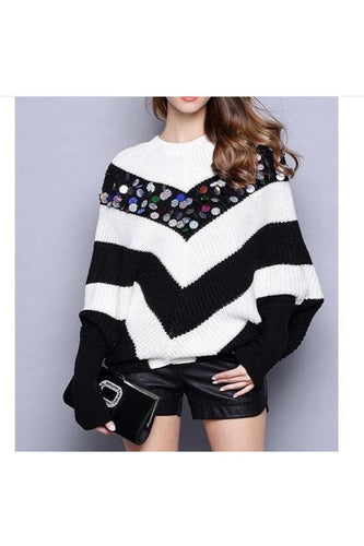 Bat Sleeve Sequined Sweater MP21084