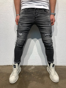 Black Destroyed Slim Fit Denim B75 Streetwear Denim Jeans