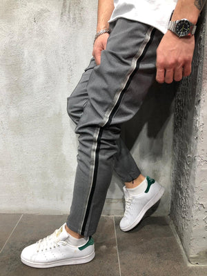 Anthracite Side Striped Casual Jogger Pant A295 Streetwear Jogger Pants - Sneakerjeans