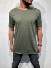 Load image into Gallery viewer, Khaki Hole Oversized T-Shirt B87 Streetwear T-Shirts - Sneakerjeans