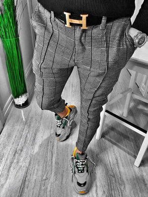 Gray Checkered Casual Jogger Pant S153 Streetwear Casual Jogger Pants - Sneakerjeans
