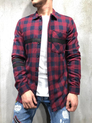 Bordeaux Checkered Oversized Shirt A248 Streetwear Shirt - Sneakerjeans