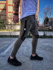 Khaki Double Zipper Pockets Jogger Pant DM11 Streetwear Jogger Pants