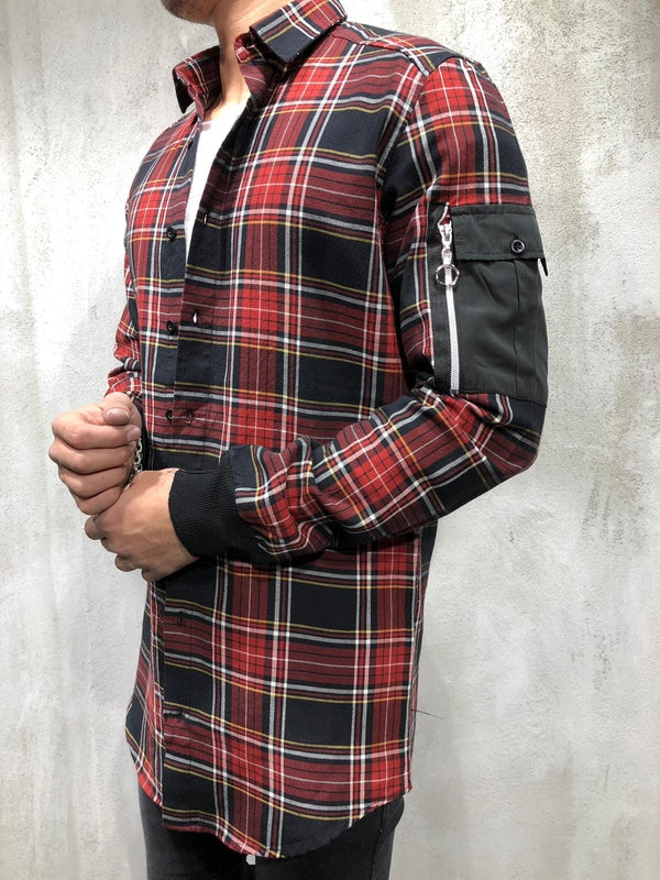 Red Oversize Checkered Side Pocket Shirt A199 Checkered  Shirt - Sneakerjeans