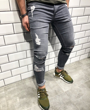 Gray Slim Fit Denim B102 Streetwear Denim Jeans - Sneakerjeans