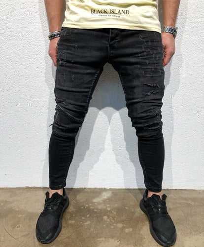 Black Side Zipper Slim Fit Denim B91 Streetwear Denim Jeans