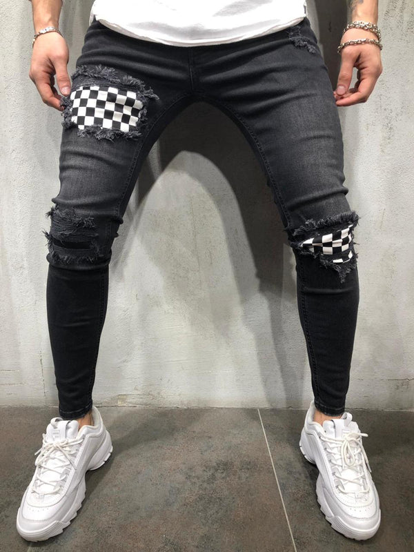 Black Checkered Patched Ultra Skinny Fit Denim A264 Streetwear Jeans - Sneakerjeans