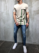 Load image into Gallery viewer, Beige Front Pocket Printed Oversize T-Shirt A49 Streetwear T-Shirts - Sneakerjeans