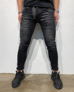 Black Front Zipper Skinny Fit Denim B156 Streetwear Denim Jeans