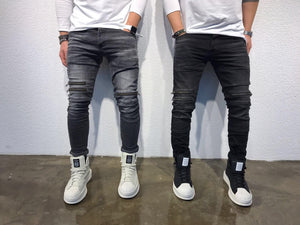 Black Front Double Zipper Slim Fit Jeans SJ242 Streetwear Jeans - Sneakerjeans