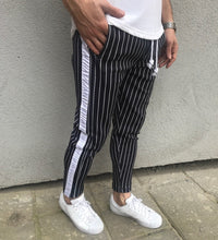 Load image into Gallery viewer, Black Striped Jogger Pant HB1 Streetwear Jogger Pants