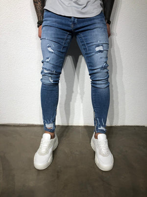 Blue Ankle Zip V 2.0 Ultra Skinny Fit Denim BL155 Streetwear Jeans - Sneakerjeans