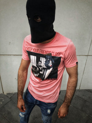 Pink Keep Your Friends Close But Your Enemies Closer Printed T-Shirt OT8 Streetwear T-Shirts - Sneakerjeans