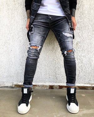 Black Ripped Patched Skinny Fit Denim B274 Streetwear Jeans - Sneakerjeans