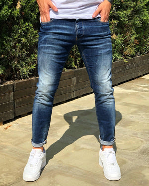 Blue Washed Skinny Fit Denim B230 Streetwear Jeans - Sneakerjeans