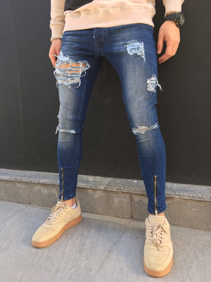 Front Ankle Zip Destroyed Slim Fit Jeans SJ271 Streetwear Jeans - Sneakerjeans