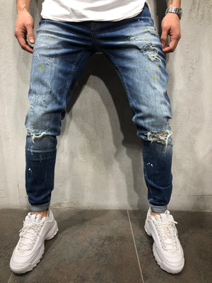 Sneakerjeans - Blue Color Blobs Ripped Skinny Jeans A244 - Sneakerjeans