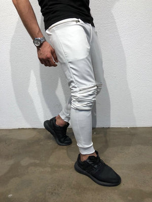 White Knee Side Pocket Zipper Jogger Pant B171 Streetwear Jogger Pants - Sneakerjeans